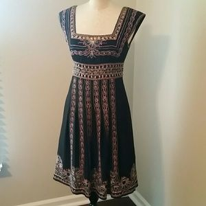 Nanette Lepore Black Silk Embroidery Peasant Dress